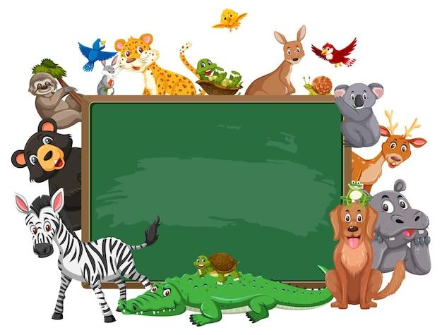 Empty blackboard with various wild animals