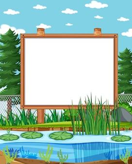 Empty blank board in nature park scenery
