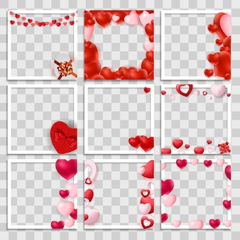 Empty blank photo frame 3d set with hearts template for media post in social network for valentine's day.