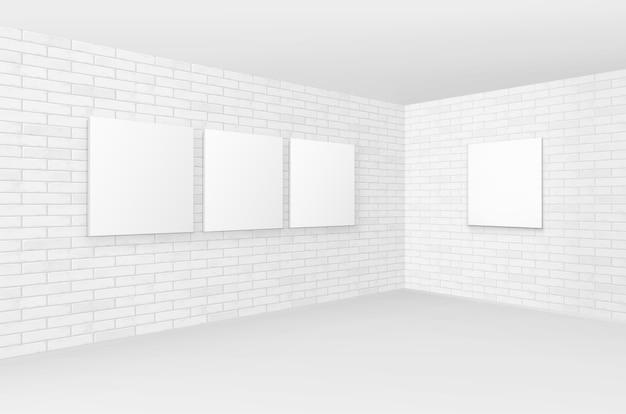 レンガの壁に空の空白のポスター写真フレーム