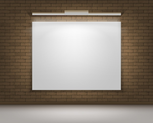 Empty blank white mock up poster picture frame on brown gray brick wall