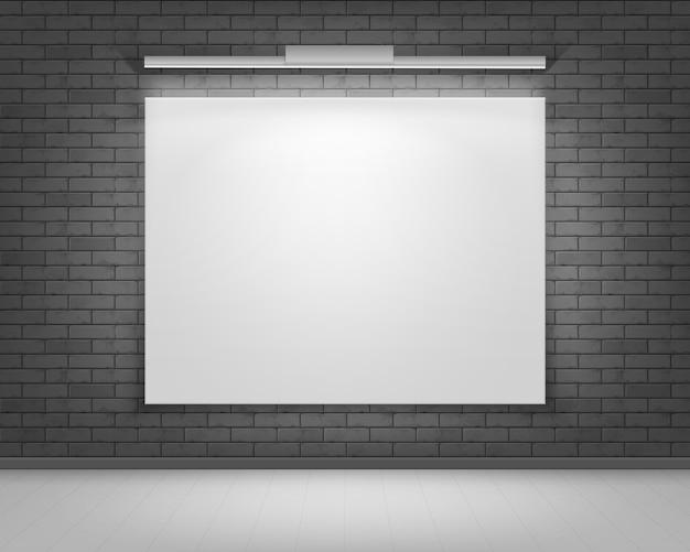 Пустой пустой белый макет фоторамки плаката на черно-серой кирпичной стене