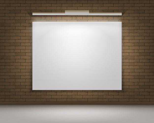 Пустой пустой белый макет фоторамки плаката на коричневой серой кирпичной стене