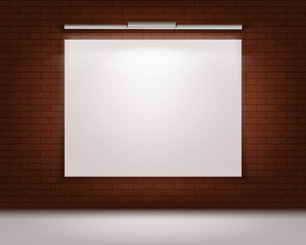 Пустой пустой белый макет фоторамки плаката на красной кирпичной стене