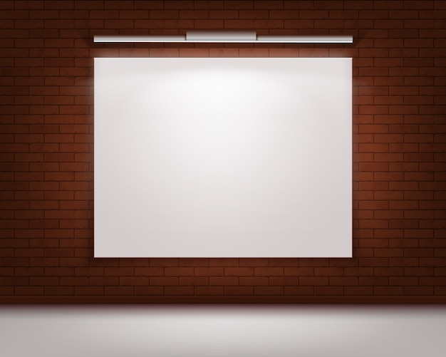 Empty blank white mock up poster picture frame on red brick wall