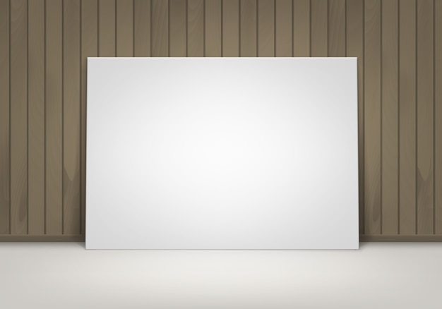 Empty blank white mock up poster picture frame standing on floor with brown wooden wall front view