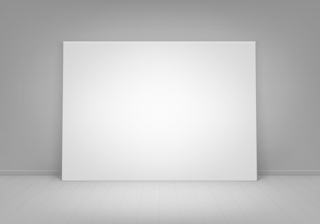 Empty blank white mock up poster picture frame standing on floor with wall front view