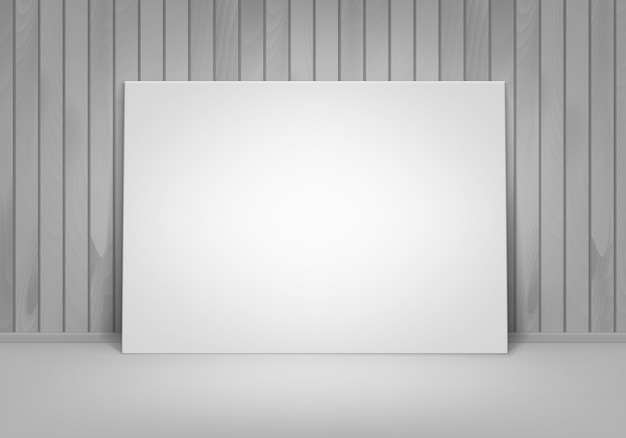 Empty blank white mock up poster picture frame standing on floor with wooden wall front view