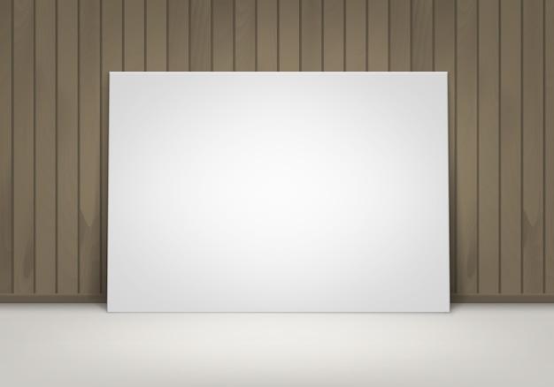 Пустой пустой белый макет фоторамки плаката, стоящего на полу с коричневой деревянной стеной, вид спереди