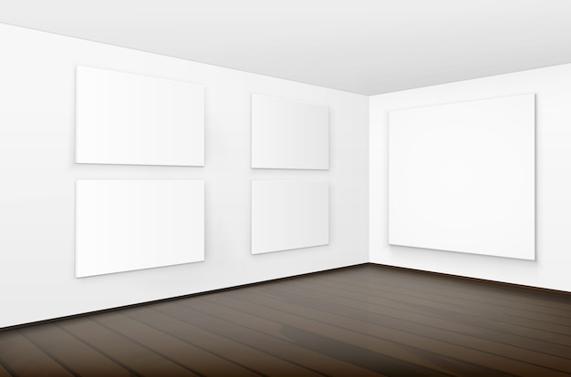 Empty blank white mock up posters pictures frames on walls with brown wooden floor in gallery