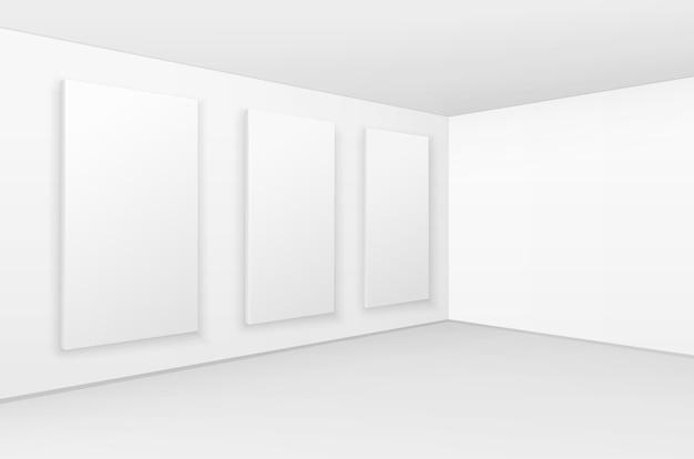 空の空白の白いモックアップポスター写真フレーム