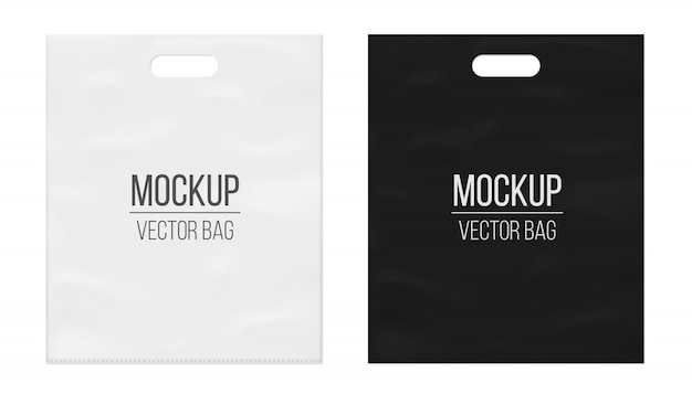Empty blank white plastic bag template.