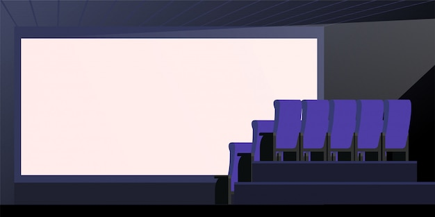 Empty blank white screen vector illustration. theater interior. big screen sheet with copy space