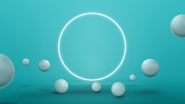 Empty blue abstract scene with realistic bouncing spheres and neon ring