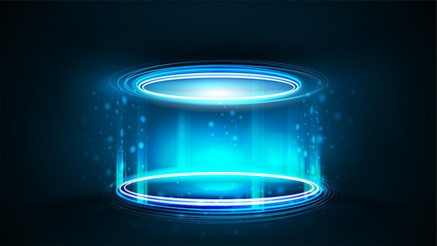 Empty blue neon podium for product presentation,  realistic illustration. blue digital hologram podium in cylindrical shape with particles and shiny rings in dark room