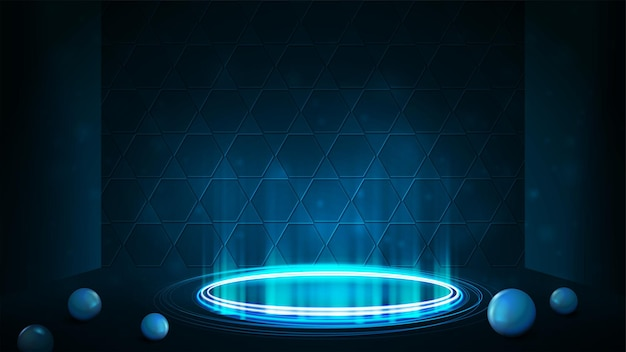 Empty blue neon podium for product presentation with honeycomb background.  shiny rings in dark room and spheres on floor