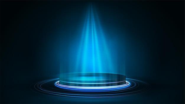 製品プレゼンテーション用の空の青い表彰台、リアルなネオンイラスト。暗い部屋で青いデジタルネオン表彰台の光沢のあるリング