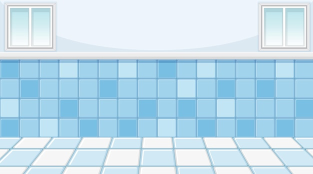 スカイブルーのタイルの床と壁の空の青い部屋