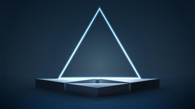 Empty blue triangular podiums with neon triangular frame on dark background