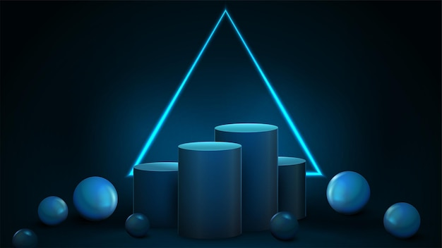 Empty blue winners cylindrical pedestals with large neon triangular frame on dark background and decorative spheres