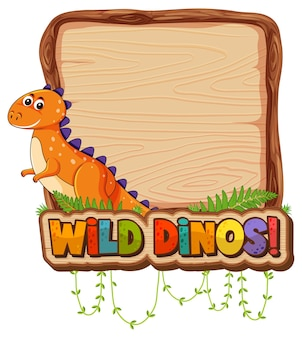 Empty board template with cute dinosaur cartoon character on white background