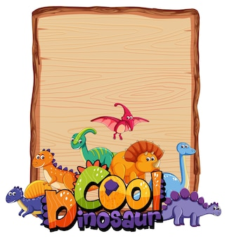 Empty board template with many cute dinosaurs on white background