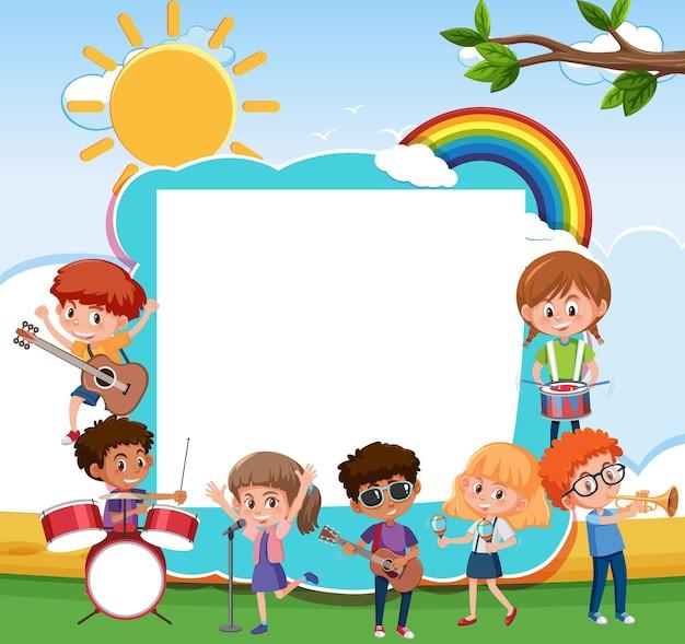 さまざまな楽器を演奏する子供たちと空のボード