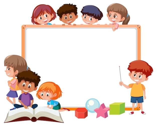 Empty board with many school kids cartoon character