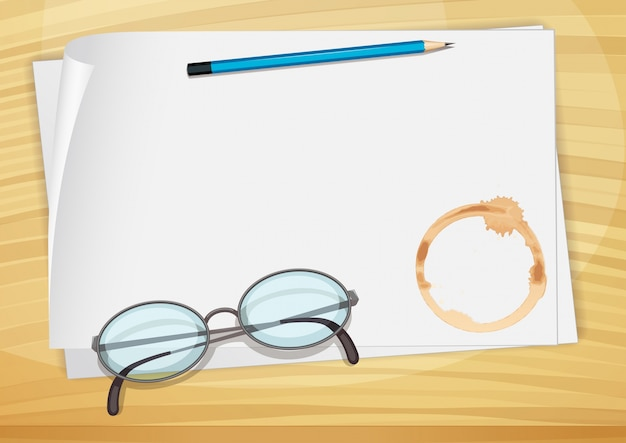 An empty bondpaper with a pencil, an eyeglass and a coffee stain