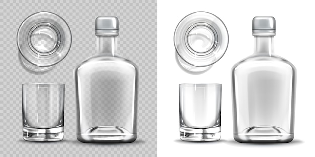 Lato vuoto della bottiglia e del vetro di colpo ed insieme di vista superiore.