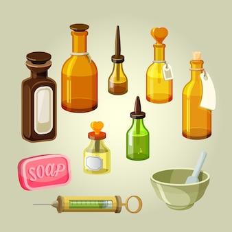 빈 병, 플라스크, 물약 및 방울 세트. 약종상 구제. 샴푸, 오일, 약리학 엘릭서를위한 저수지. 약국 혼합물. 실험실 의약품. 비누와 주사기 그림