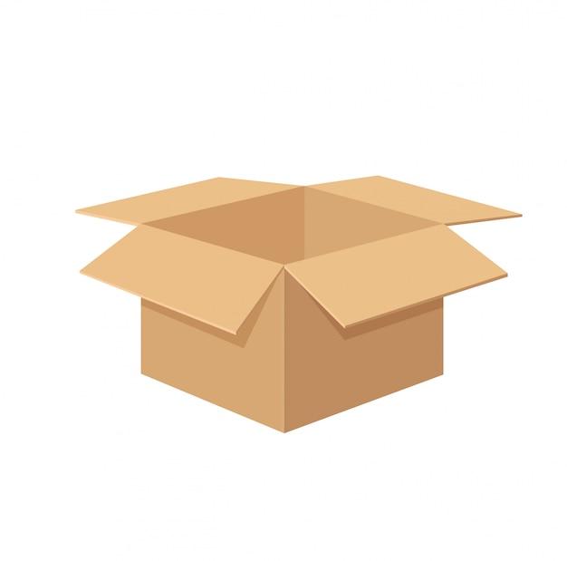 Пустая коробка изолировать на белом Premium векторы