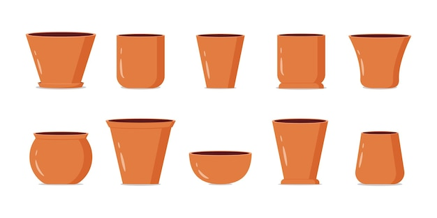 Empty brown flower pots collection