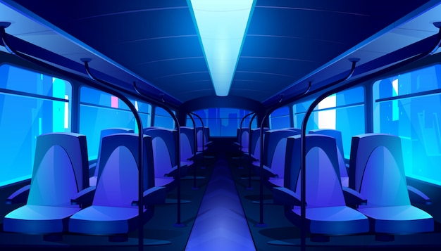 Empty bus interior at night