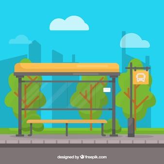 Sfondo di fermata dell'autobus vuoto in stile piano
