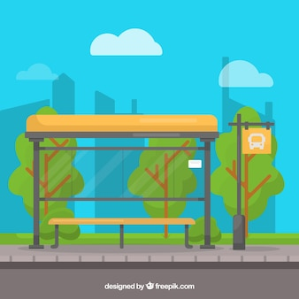 Empty bus stop background in flat style