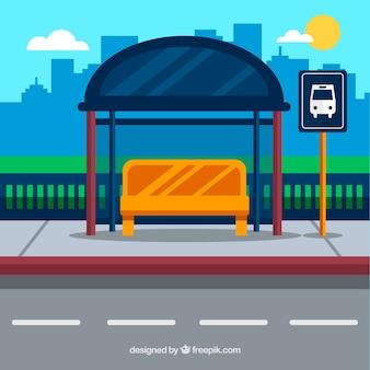 평면 디자인의 빈 버스 정류장