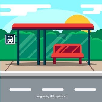 Empty bus stop with flat design