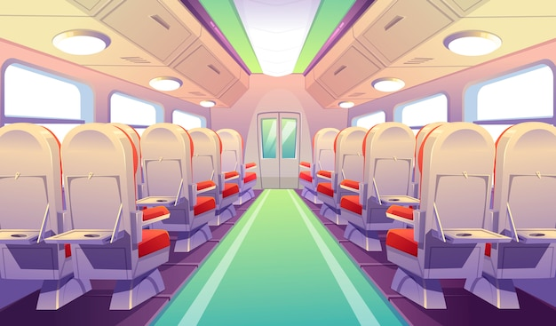 Empty bus, train or airplane interior with chairs