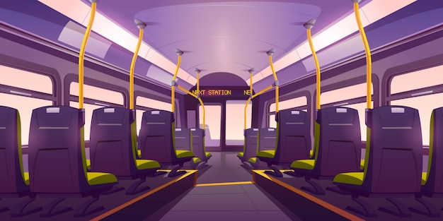 Empty bus or train interior with chairs back view