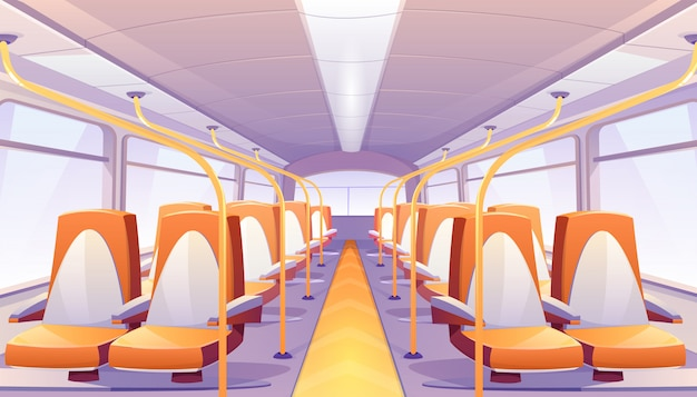 Empty bus with orange seats