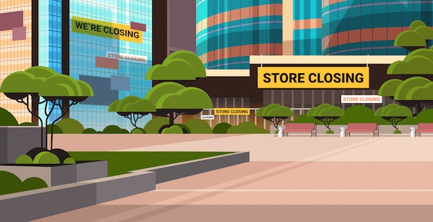 Empty business center with store closing sign coronavirus pandemic quarantine  concept
