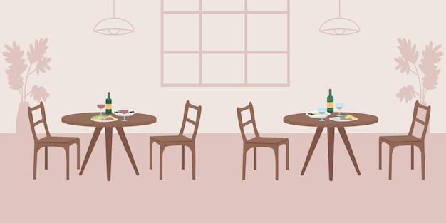 空のカフェフラットカラーベクトルイラスト。カップルのための夕食付きの2つのテーブル。友達のためのランチ。娯楽のための公共スペース。背景にカフェテリアの装飾が施されたレストラン2d漫画のインテリア