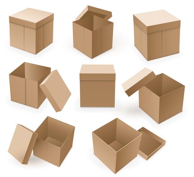 Пустая картонная коробка. открытая коричневая изолированная коробка.