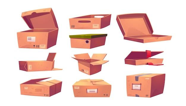 白で隔離される空の段ボール箱のさまざまな形