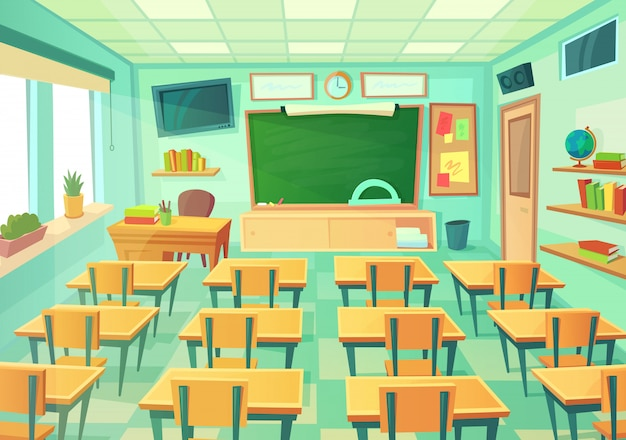 Empty cartoon classroom