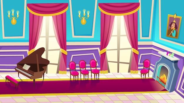 Empty castle music hall interior with grand piano.