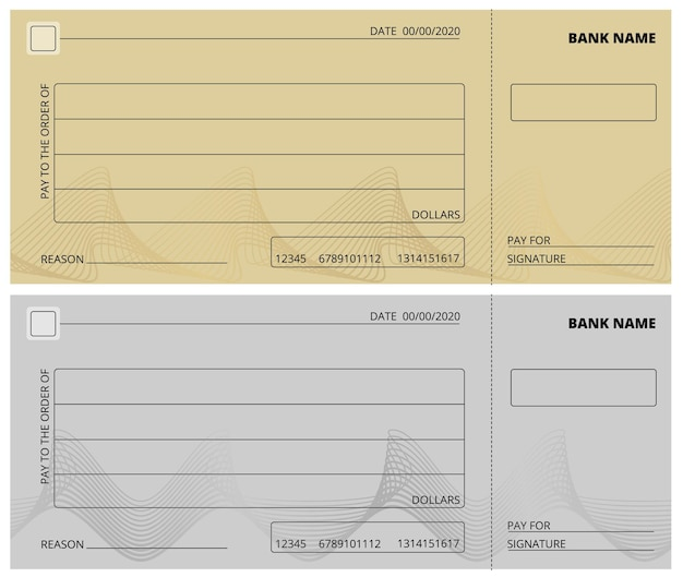 빈 수표 템플릿입니다. 비즈니스 수표 책 디자인입니다. 은행 확인, 자선 기부를 위한 빈 페이지, 기업 지불 벡터 일러스트레이션. 은행에서 지불할 수 있는 빈 수표