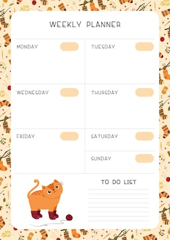 Empty children weekly planner page  template.