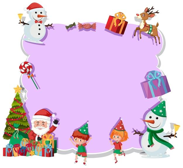 漫画のキャラクターやオブジェクトと空のクリスマスボード
